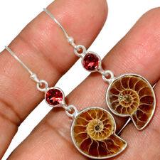 """""""Fossil"""" Ammonite - Madagascar & Garnet 925 Silver Earring Jewelry AE150845"""