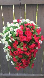Beautiful Artificial  Morning Glory Ivory / Cerise Hanging Basket Ready To Hang