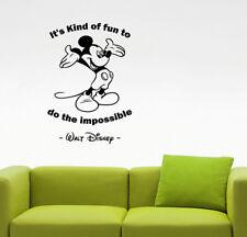 Walt Disney Quote Wall Decal Mickey Mouse Vinyl Sticker Art Kids Room Decor 23qz