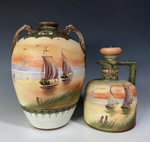 Nippon Japanese Porcelain Scenic Sailing Ships Vase And Decanter