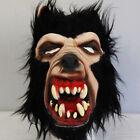 WOLF Vampire BLACK Hair Latex Halloween ADULT Mask Costume Scary NEW WEREWOLF
