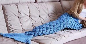 Mermaid Tail Fish Scale Handmade Crocheted Sofa Beach Quilt Rug Knit Blanket