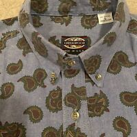VTG Creekwood Men's Large Blue Paisley Button Up Long Sleeve Shirt Made in USA