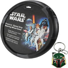 Star Wars Darth Vader Black Steering Wheel Cover and Boba Fett Key Chain Set