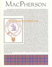SCOTTISH CLAN MACPHERSON FAMILY HISTORY Ready to Frame Print - Tartan - History