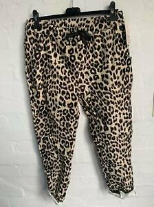 Italian Lagenlook Leopard Print Suede Feel Joggers Stretch Magic Trousers 10 -18