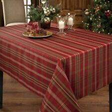 Christmas Tablecloth Metallic Fabric 60 x 120 Inch Rectangle Holiday Table Cover