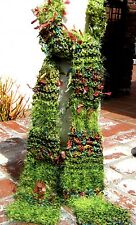 SALE !! GREEN & MULTI COLOR FUZZY YARN LADIES LONG SCARF HAND KNIT FREE SHIPPING