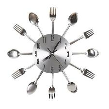 Modern Design Silver Cutlery Kitchen Utensil Wall Clock Spoon Fork Clock New