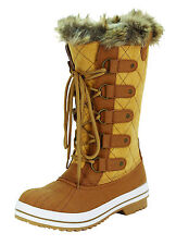 New Women's Mid Calf Boots Tan Honey Shoes Fur Lined Winter Snow Ladies size 11