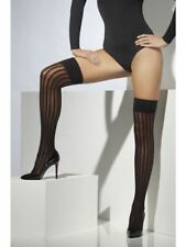 Smiffys Sheer Hold-Ups, Black, With Vertical Stripes, Women - UK Dress Size 6-14