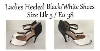 Womens Shoes Open Toe Black/White Heeled Shoes Size Uk5 / Eu 38 FREE Delivery