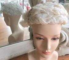 Vintage 1960s White Braided Straw Toque Hat