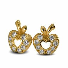 Apple Stud Earrings 18ct Gold Filled with White CZ Womens or Girls 18K GF
