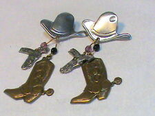 Dangling Western Earrings Cowboy Hat, Boots with spur , holster and pistol