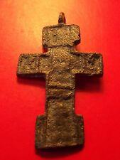 Antique Byzantine Orthodox Calvary Cross Bronze Pendant TVERJ 15 - 16 th