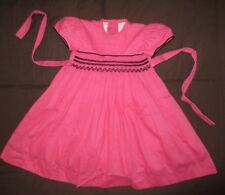 Vintage Will`Beth 100% Cotton Pink Black Corduroy Baby Toddler Dress Sz 12 mo