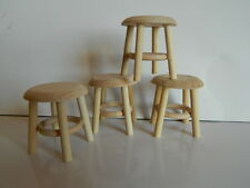 (HP10) DOLLS HOUSE BARE WOOD SET OF FOUR STOOLS
