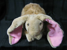 "Dakin Stuffed Plush Bunny Rabbit Brown Tan 1993 12"" Realistic Lop Ear Pink"
