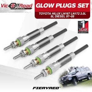 4Pcs Diesel Glow Plugs For Toyota Hilux LN147 LN167 LN172 1997-2005 3.0L 5L 5L-E