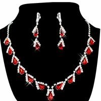 Women's Jewelry Set Bridal Wedding Red Teardrop Pearls Crystal Rhinestone N E3Q6