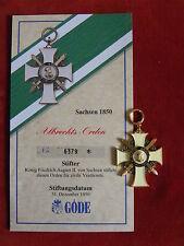 GÖDE Orden Sachsen 1850 - Albrechts Orden + Zertifikat Nr.6379