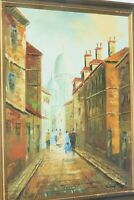 VINTAGE OIL PAINTING ON BOARD ANCIENT STREET CITY SCENE SIGNED THIERRY
