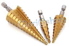 KIT 3 FRESE CONICHE GRADINI DA 4 A 32 MM FRESA CONICA A SCALINI HSS X FORO LEGNO