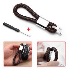 Car Keychain Leather Braided Knitting Metal Auto Home Key Ring Holder Men Keyfob