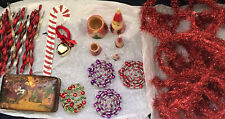 Large Lot Vintage Christmas Including 41 Feet Red Tinsel & 26 Glitter Icicles +