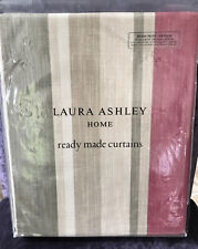 """Laura Ashley Awning Stripe Raspberry Lichen Curtains - 64"""" W x 54""""L / 162x137cm"""