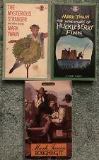 Mark Twain books, lot of 3, Huck Finn, Roughing It, The Mysterious Stranger,