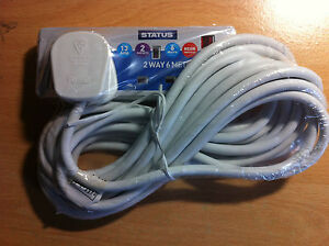 2 Way Extension Socket 13a 6m Long Lead Cable With Plug & Neon