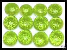 Lot of 6 TWINKLE LIME GREEN Fused Glass DICHROIC Cabochon NO HOLE Bead Flat Back