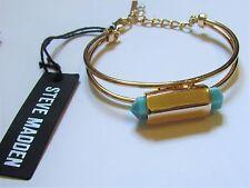 Steve Madden Turquoise & Gold Bangle Bracelet NWT