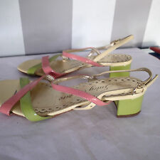 juicy couture sandals  shoes   sz 6.5 , pink green gold yellow ankle strap  k