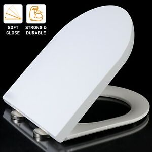 LUXURY D SHAPE SOFT CLOSE WHITE TOILET SEAT WC QUICK RELEASE + TOP FIXING HINGES