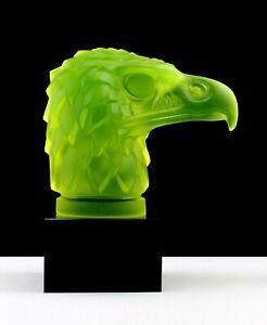 Art Deco Glass Car Mascot Head Eagle Hood Ornament Figurine 1930's H.Hoffmann