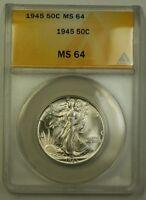 1945 US Walking Liberty Silver Half Dollar 50c Coin ANACS MS-64