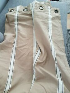 Nautica Striped Drapery Panels Lined 1 panel beige brown stripes