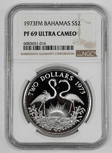 1973 FM PROOF BAHAMAS FLAMINGO S$2 NGC CERTIFIED PF 69 ULTRA CAMEO (016)