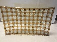 "Art Glass Tray brown & clear Basket Weave 14"" x 8.5"" Retro"