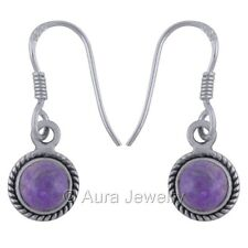 Solid 925 Sterling Silver Earrings Drop Dangle Sugilite Jewelry #E1952-2