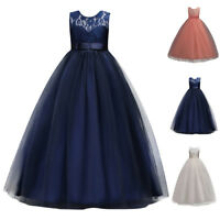 Children Girls Lace Floral Long Formal Princess Ball Gown Party Maxi Dress