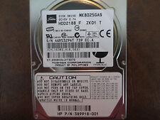 "Toshiba MK8025GAS HDD2188 F ZK01 T PN:389918-001 610 A0/KA024A 80gb IDE 2.5"" HDD"