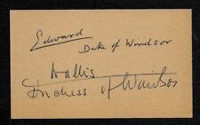 Edward VIII Duke of Windsor & Wallis Simpson Autograph Reprint On Old 3x5 Card