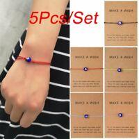 5Pcs/set Lucky Evil Eye Blue Beads Bracelet Handmade Adjustable Bangle Jewellery