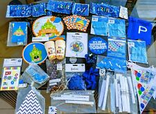 LOT Boys Party Decorations Blue Birthday Alligator Balloons Candles Paper Fans