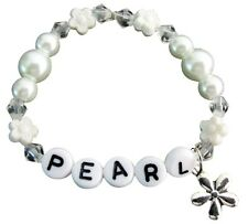 Baby Girl Name Bracelet White Pearls Flower Beads Spacer child jewelry