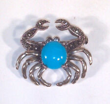 """Queen Crab Pin 1.25"""" Brooch Rhinestone Silver Tone And Blue"""